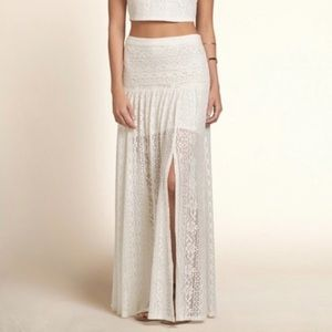Hollister Ivory Boho Long Layered Maxi Skirt
